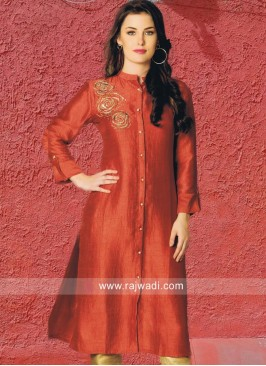 Orange Embroidered Kurti