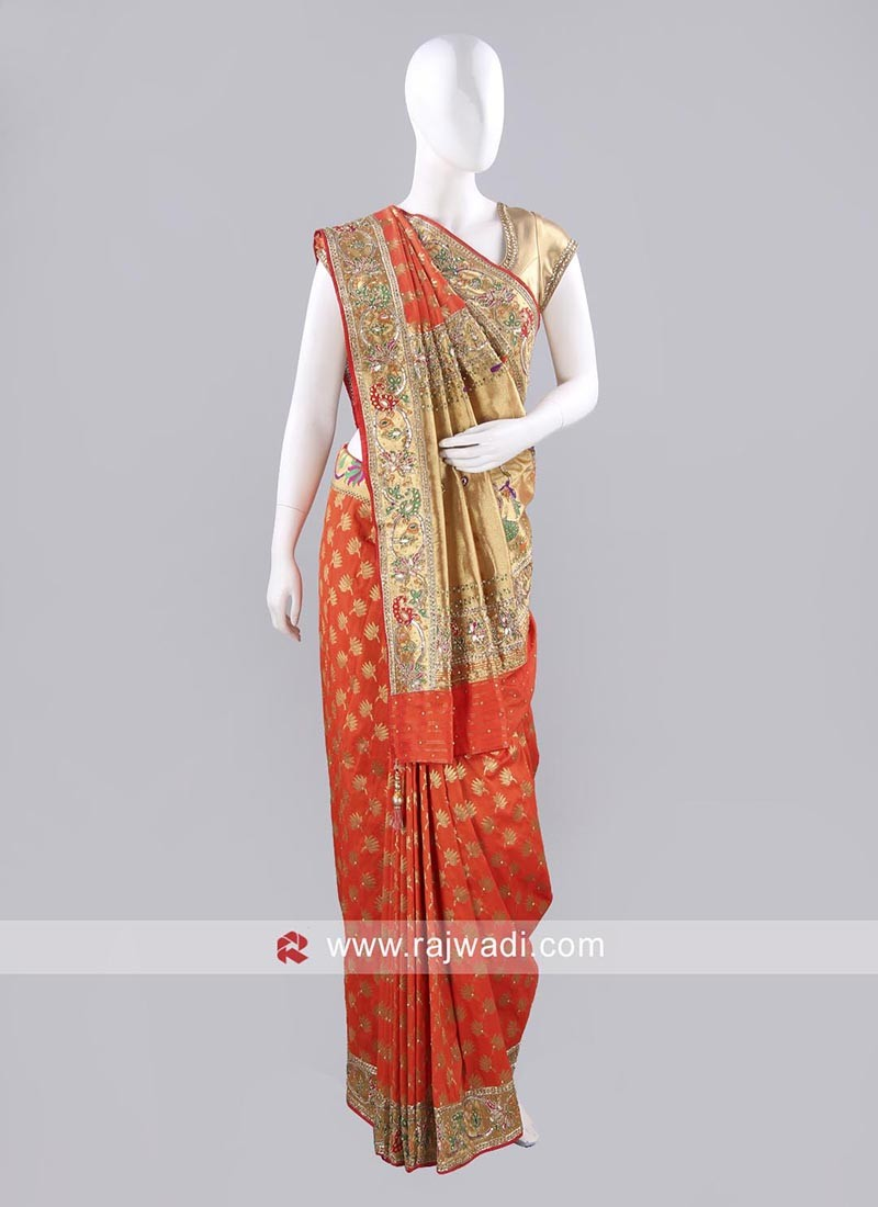 Orange Embroidered Saree with Blouse