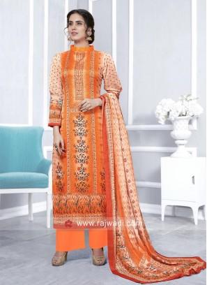 Orange Faux Georgette Palazzo Suit
