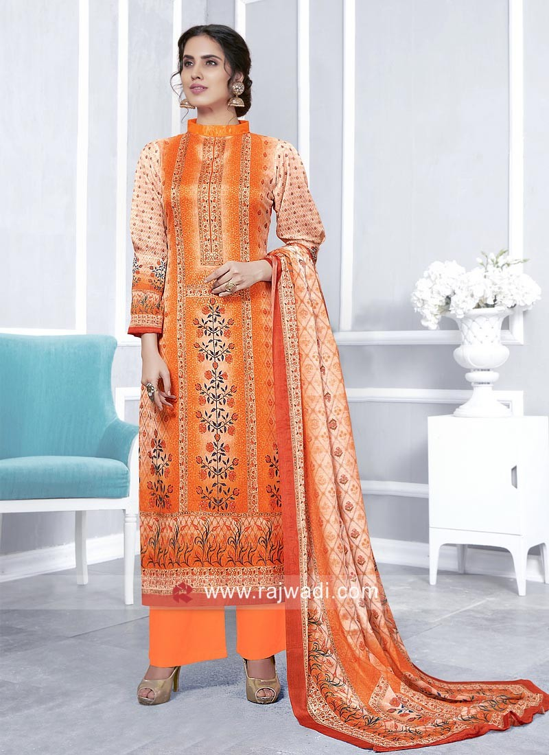 Orange Faux Georgette Palazzo Suit