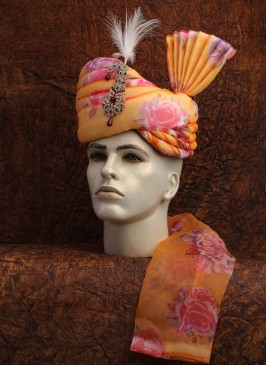 Orange Floral Printed Turban