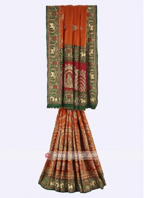 Orange, green and red color gajji silk saree