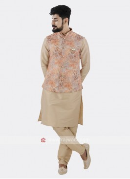 Orange Koti With Cream Kurta Set