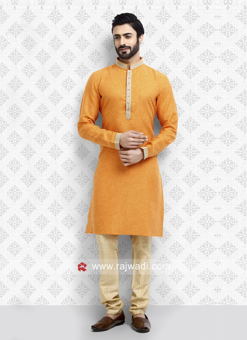 Orange Mens Kurta Pajama