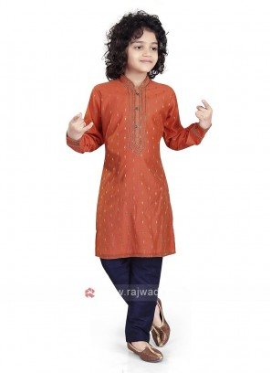 Orange & Navy Color Kurta Pajama