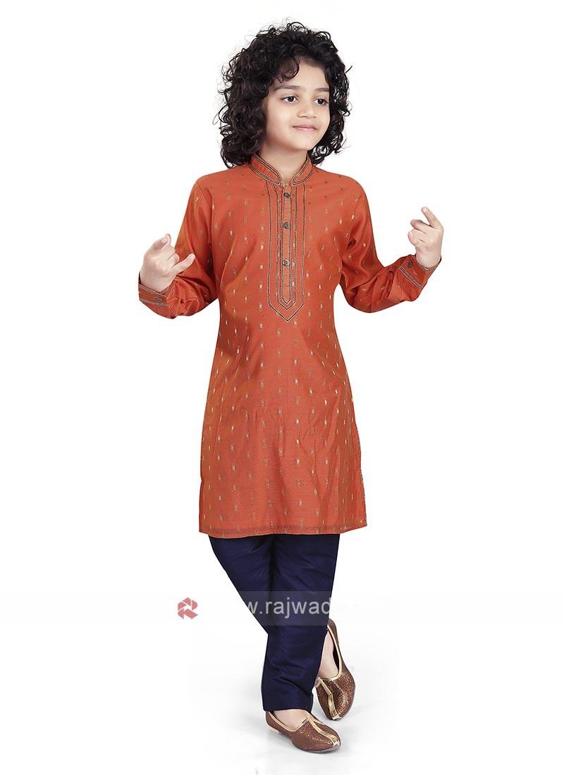 Orange & Navy Color Kurta Pajama