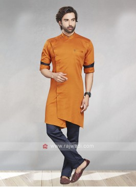 Orange & Navy Kurta Pajama For Men
