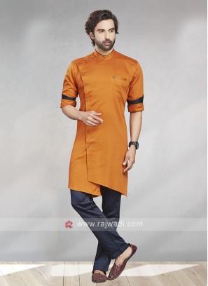 Orange & Navy Kurta Pajama For Men