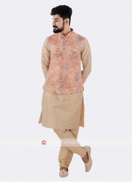 Orange Nehru Jacket With Cream Kurta Suit