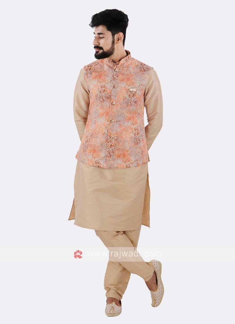 Orange Nehru Jacket With Cream Kurta Suit