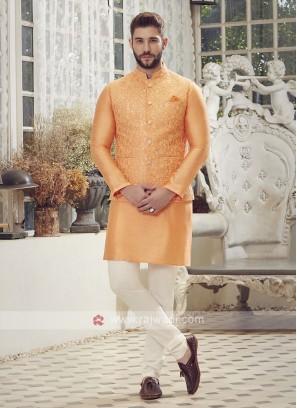 Orange & Off White Nehru Jacket Suit