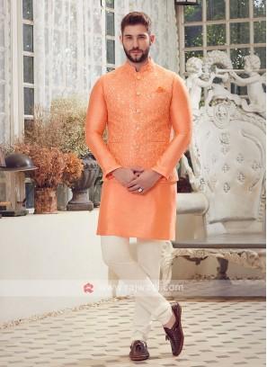 Orange & Off White Nehru Jacket Suit