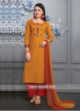 Orange Palazzo Suit For Party