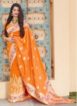 Orange Party Designer Traditional Saree