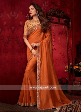 Rust Party Wear Saree