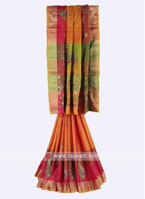 Orange, Pink and mehndi color pure silk saree