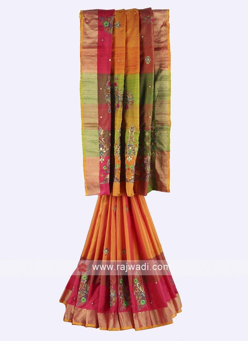Orange, Pink and mehndi color pure silk saree