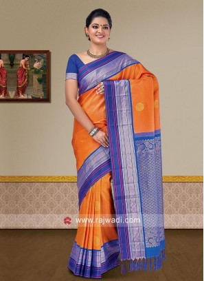 Orange Pure Silk Saree with Blue Woven Border
