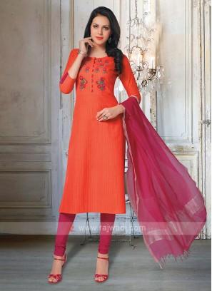 Orange & Rani Churidar Suit & Dupatta