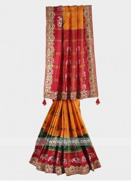Orange, Red and green color pure silk saree