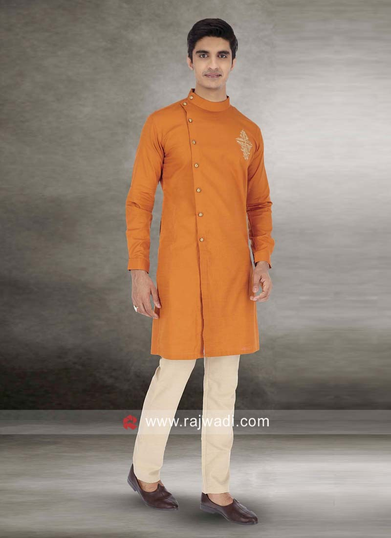 Orange Round Neck Kurta Set