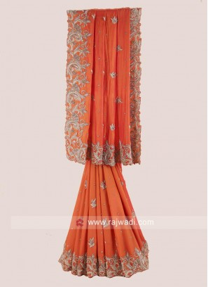 Orange Saree with Embroidered Border