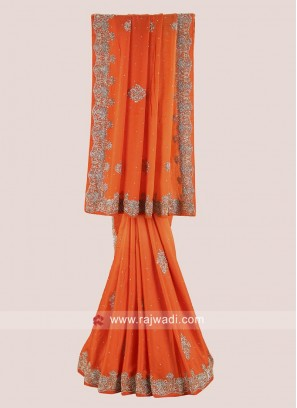 Orange Shaded Heavy Wedding Saree