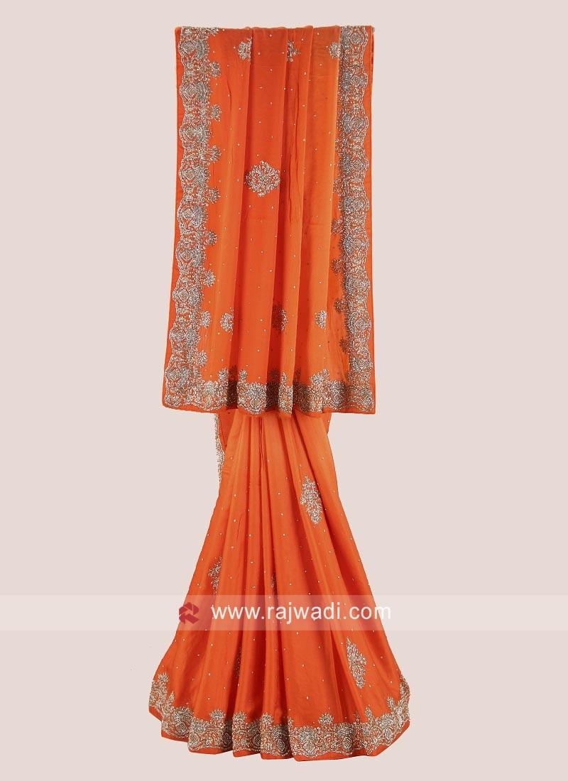 Orange Shaded Heavy Wedding Saree
