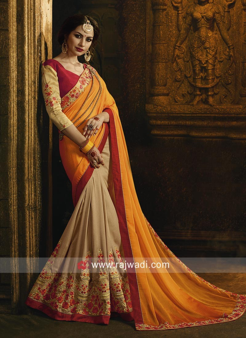 Orange Shaded Saree with Raw Silk Blouse