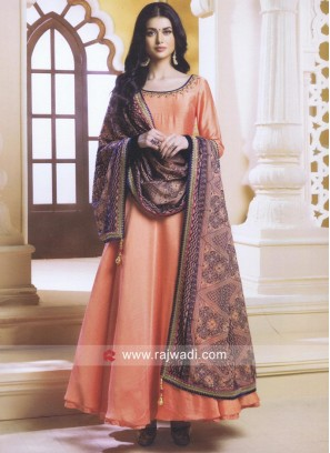 Orange Stone Work Anarkali Salwar Suit