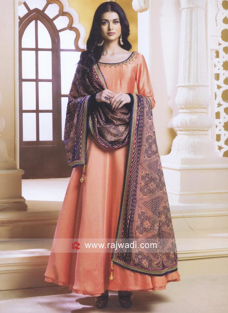 Orange Stone Work Anarkali Salwar Suit