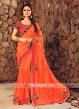 Orange Stone Work Saree