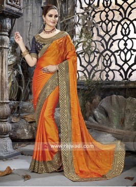 Orange Stone Work Wedding Saree