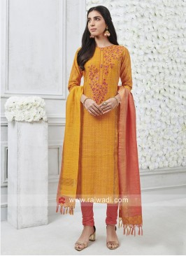 Orange Straight Fit Salwar Suit