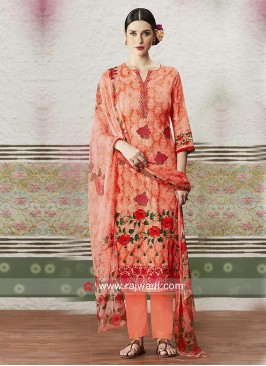 Orange Straight Salwar Kameez