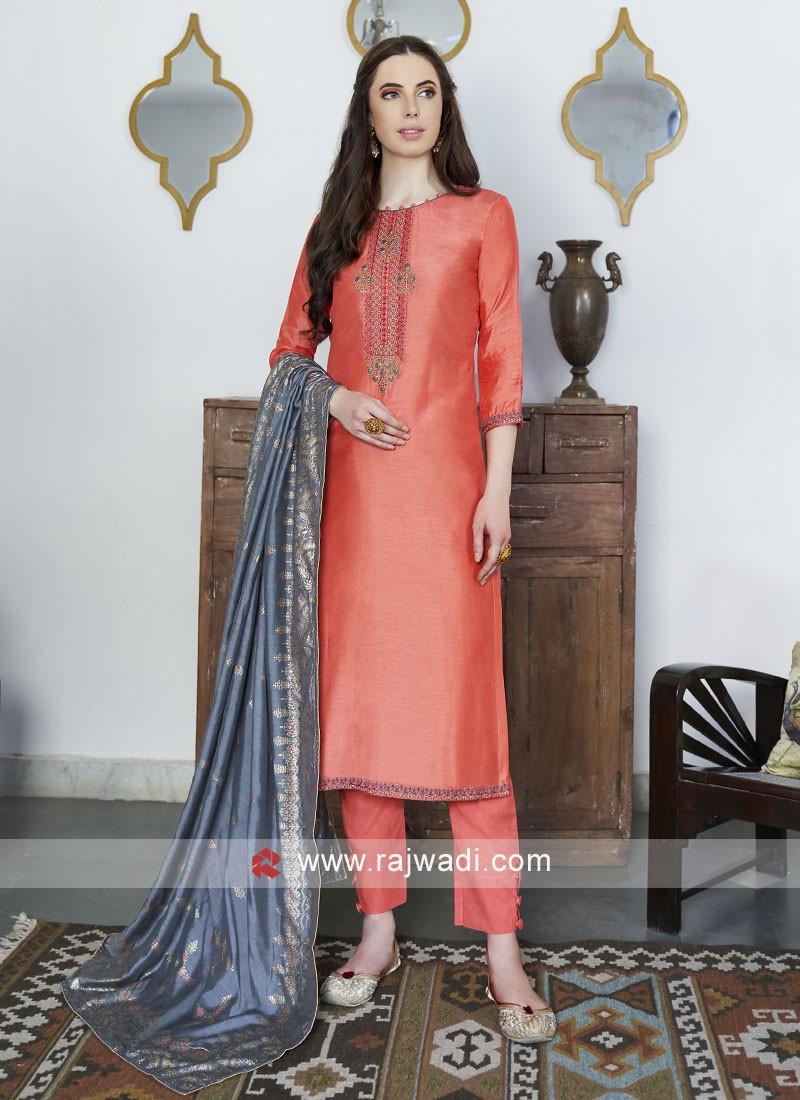 Orange Straight Salwar Suit with Dupatta