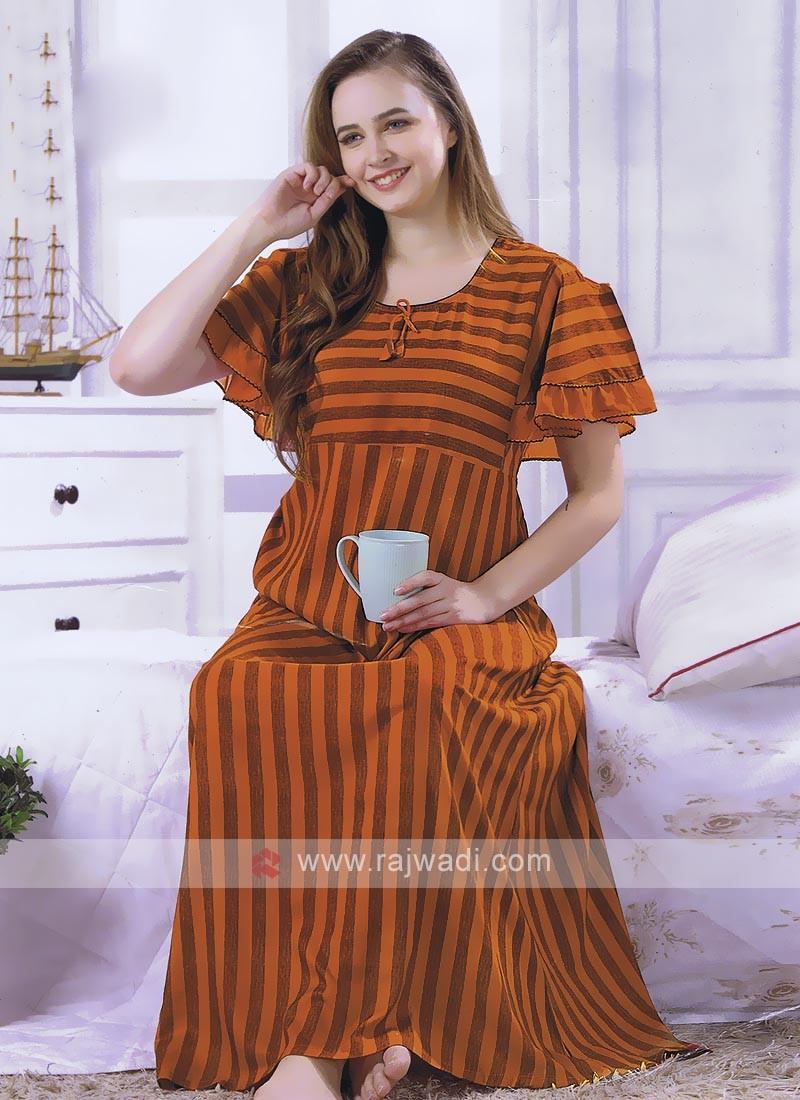 Orange Stripped Nighty