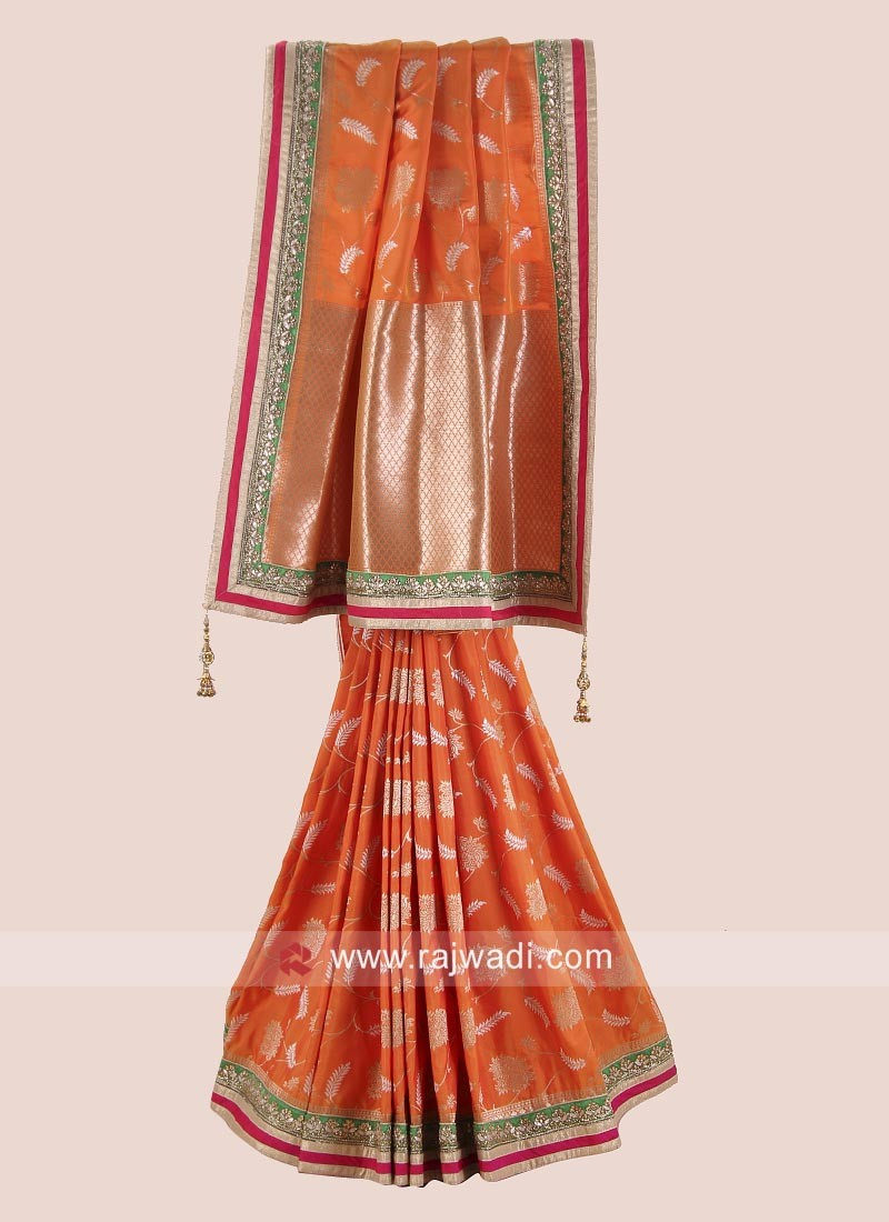 Orange Uppada Silk Saree with Blouse