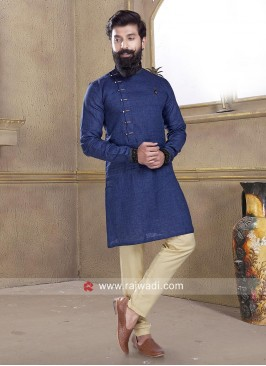 Blue Linen Pathani Suit