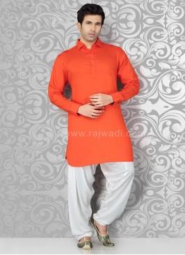 Orange Voile Pathani Suit