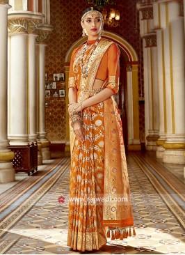 Orange Weaved Saree