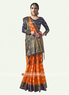 Orange Weaved Saree with Blouse