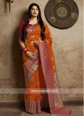 Orange Weaving Saree with Maroon Blouse