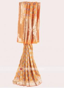 Orange Zari Weaved Saree
