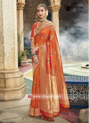 Orange Zari Weaving Saree