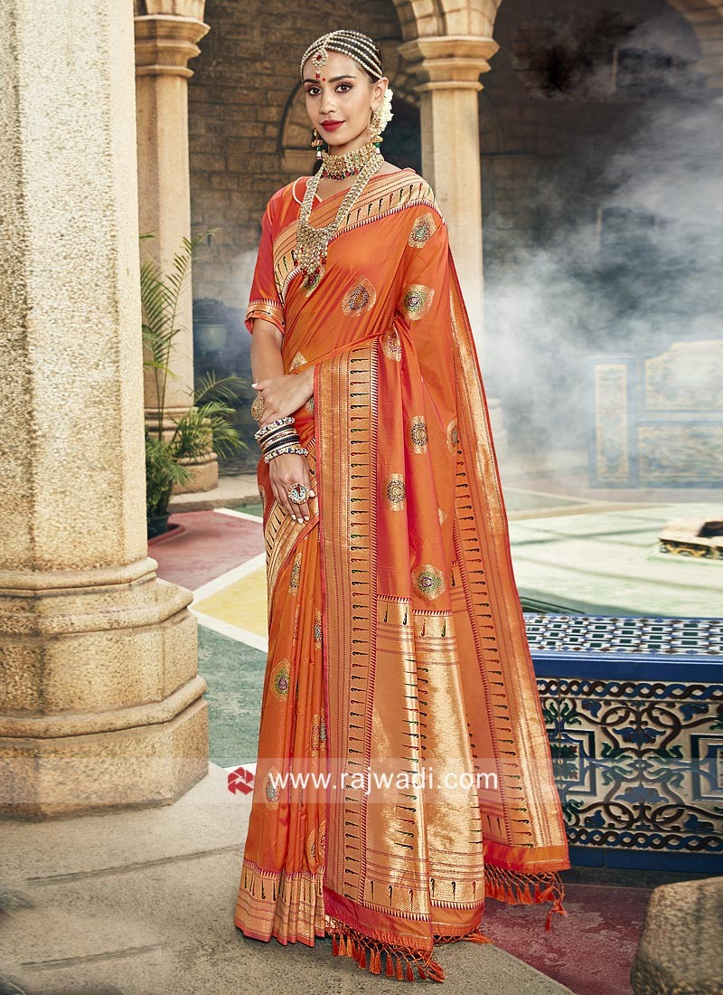 Orange Zari Weaving Saree