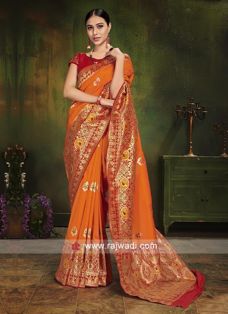Orange Zari Woven Saree