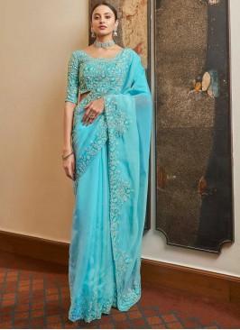 Organza Designer Traditional Saree in Blue