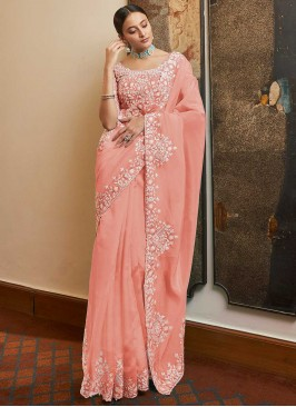 Organza Designer Traditional Saree in Pink