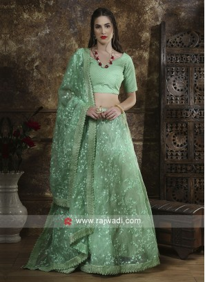 Organza Fabric Wedding Lehenga Set